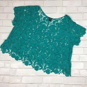 Torrid Crochet Lace Crop Top Teal Green Size 1X